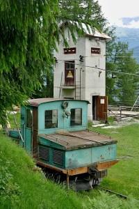 An der Bergstation der Schrägseilbahn der Laaser Marmorbahn