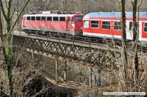 Baureihe 110 auf der Buchenbachbrücke Kleine Murrbahn