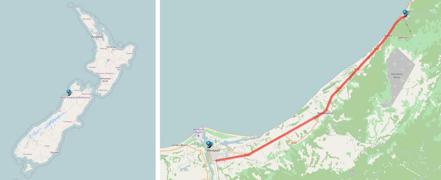 Landkarte: Lage der Strecke Ngakawau - Westport der KiwiRail