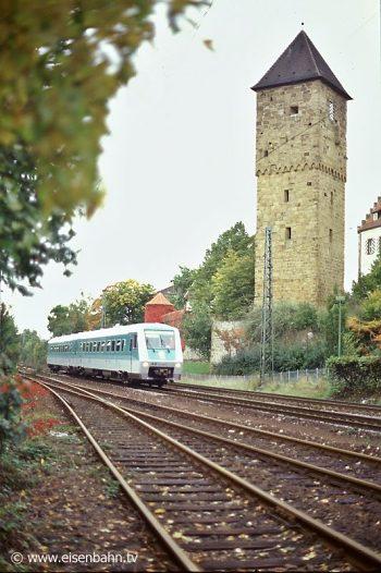Testfahrt des brandneuen 611 006 im Juni 1996 bei Neckarsulm