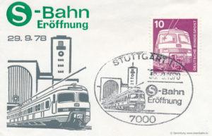 Sonderstempel zur Eröffnung der S-Bahn-Stuttgart. Die Baureihe 420 hat es sogar auf eine offizielle Briefmarke geschafft.