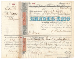 Aktie Jeffersonville, Madison and Indianapolis Railroad 1870 - 325 shares zu 100$