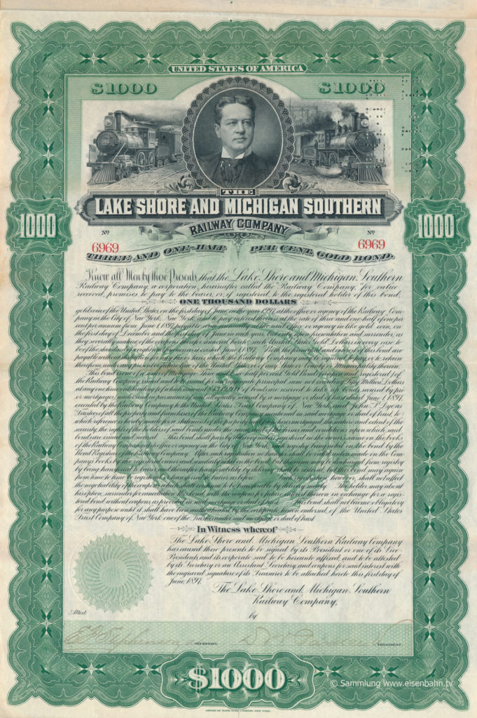 1897 Obligation Lake Shore and Michigan Southern Railway Company I