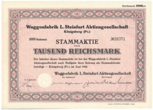 Stammaktie der Waggonfabrik Steinfurt in Königsberg Ostpreußen.