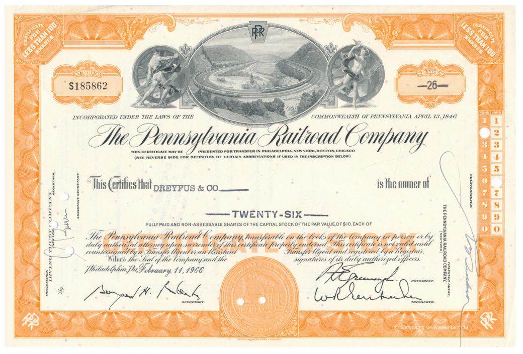 Original Share The Pennsyvania Railrad Company 26 Shares 1966