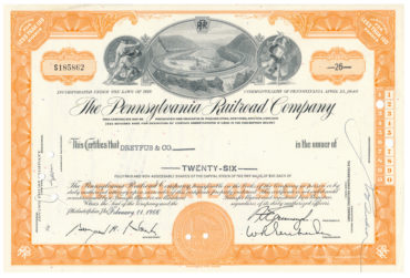 Original Share The Pennsyvania Railrad Company 26 Shares 1966