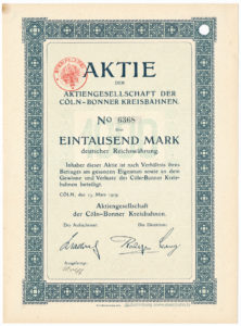 1909 Cöln - Bonner Kreisbahnen Aktie Köln Bonn Kreisbahn