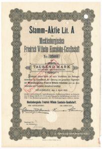 1922 Stammaktie Meklenburgische Friedrich Wilhelm Eisenbahn-Gesellschaft © collection www.eisenbahn.tv