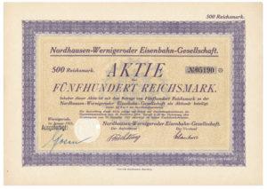 Aktie Share 1925 Nordhausen - Wernigeroder Eisenbahn Gesellschaft Harz