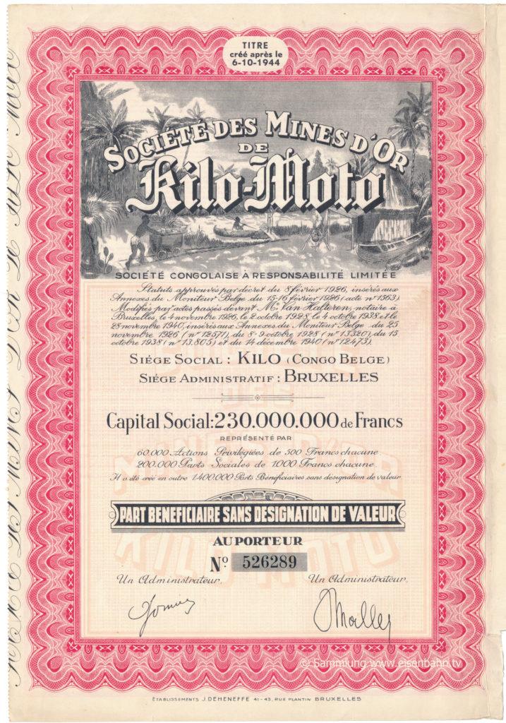 Aktie 1926 Sociéte des Mines d´or de Kilo-Moto Belgisch Kongo Obligation Congo Belge Bruxelles © collection www.eisenbahn.tv