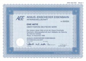 1988 Aktie Ahaus Enscheder Eisenbahn