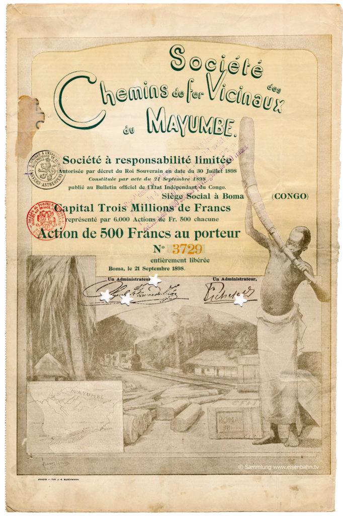 1898 Chemins de fer Vicinaux du Mayumbe Congo Aktei Share Eisenbahn Kongo