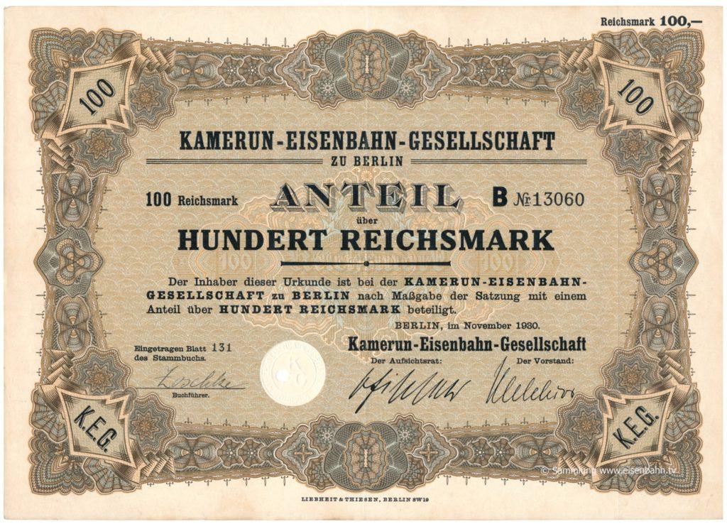 1930 Aktie Hundert Reichsmark Kamerun Eisenbahn Gesellschaft zu Berlin