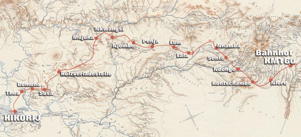 Karte der Kamerun Nordbahn