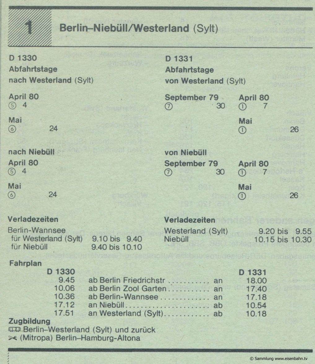 D 1330 D 1331 Berlin - Niebüll -Westerland (Sylt) Autozug Autoreisezug Fahrplan aus dem Kursbuch 1979 1980