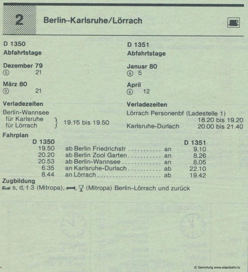 D 1350 D 1351 Berlin - Karlsruhe - Lörrach  Autozug Autoreisezug Fahrplan aus dem Kursbuch 1979 1980