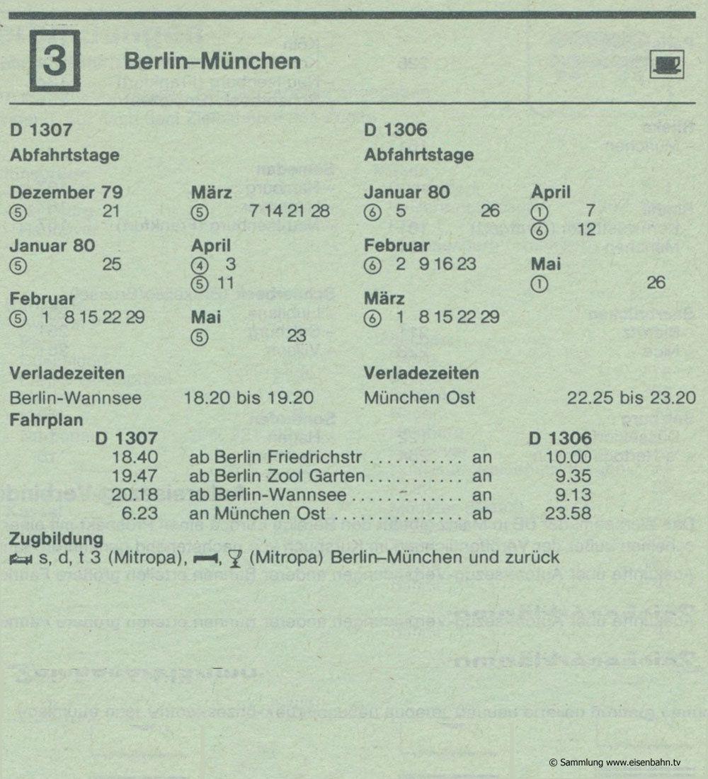 D 1307 D 1306 -Berlin - München Autozug Autoreisezug Fahrplan aus dem Kursbuch 1979 1980