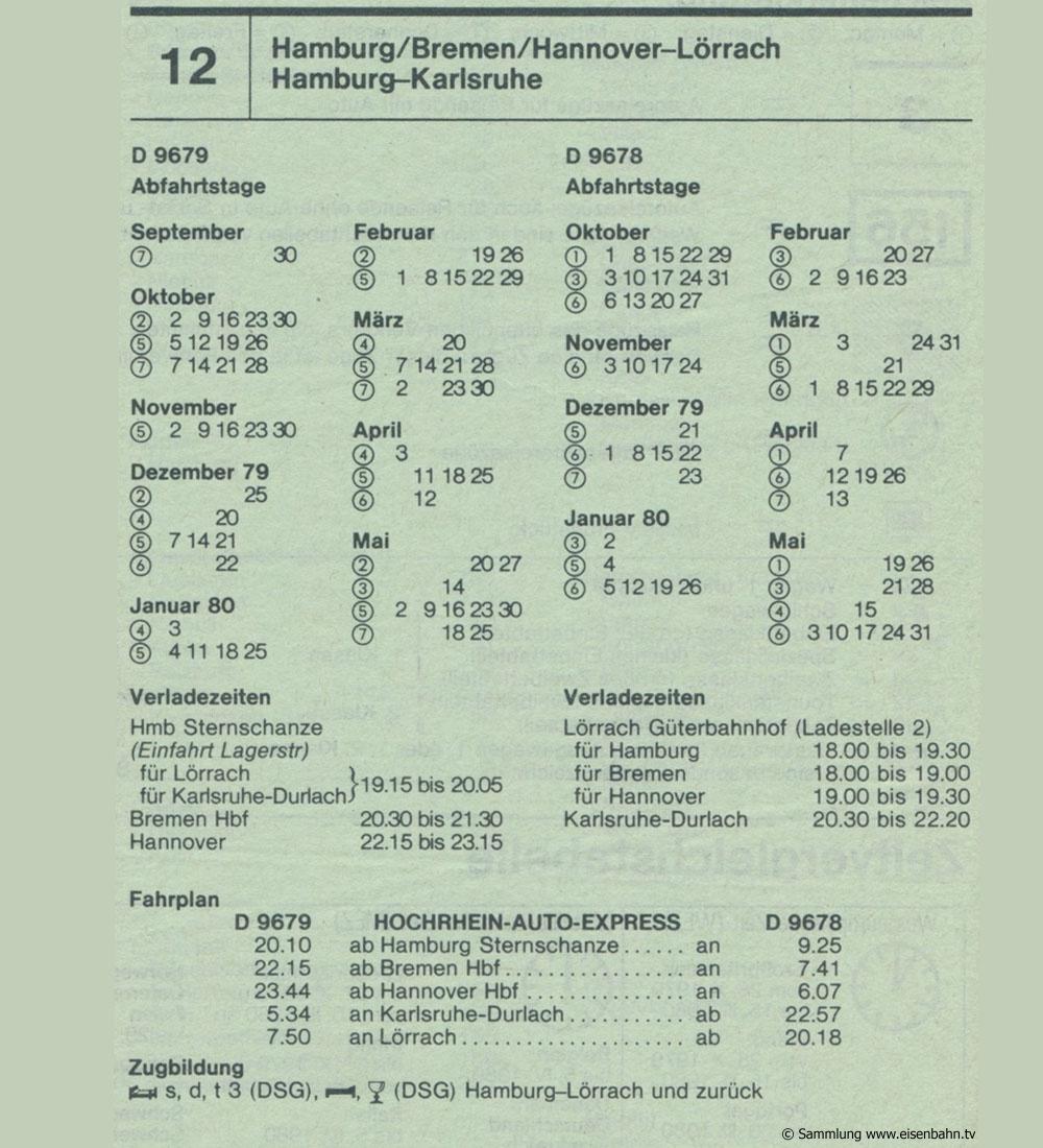 D 9679 D 9678 Hochrhein- Auto-Express Hamburg - Bremen - Hannover - Lörrach - Hamburg Karlsruhe Autozug Autoreisezug Fahrplan aus dem Kursbuch 1979 1980
