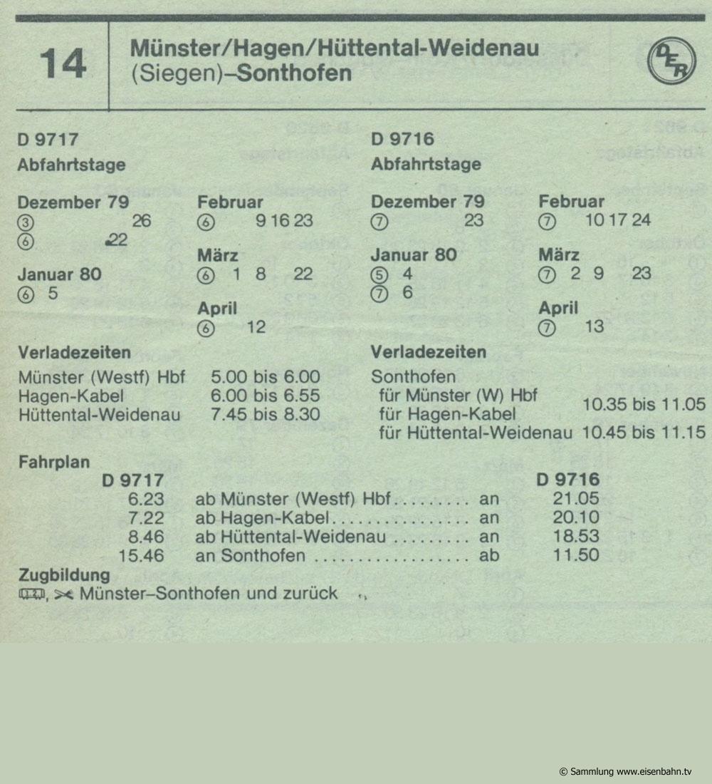 D 9717 D 91716 Münster / Hagen / Hüttental-Weidenau (Singen) - Sonthofen Autozug Autoreisezug Fahrplan aus dem Kursbuch 1979 1980