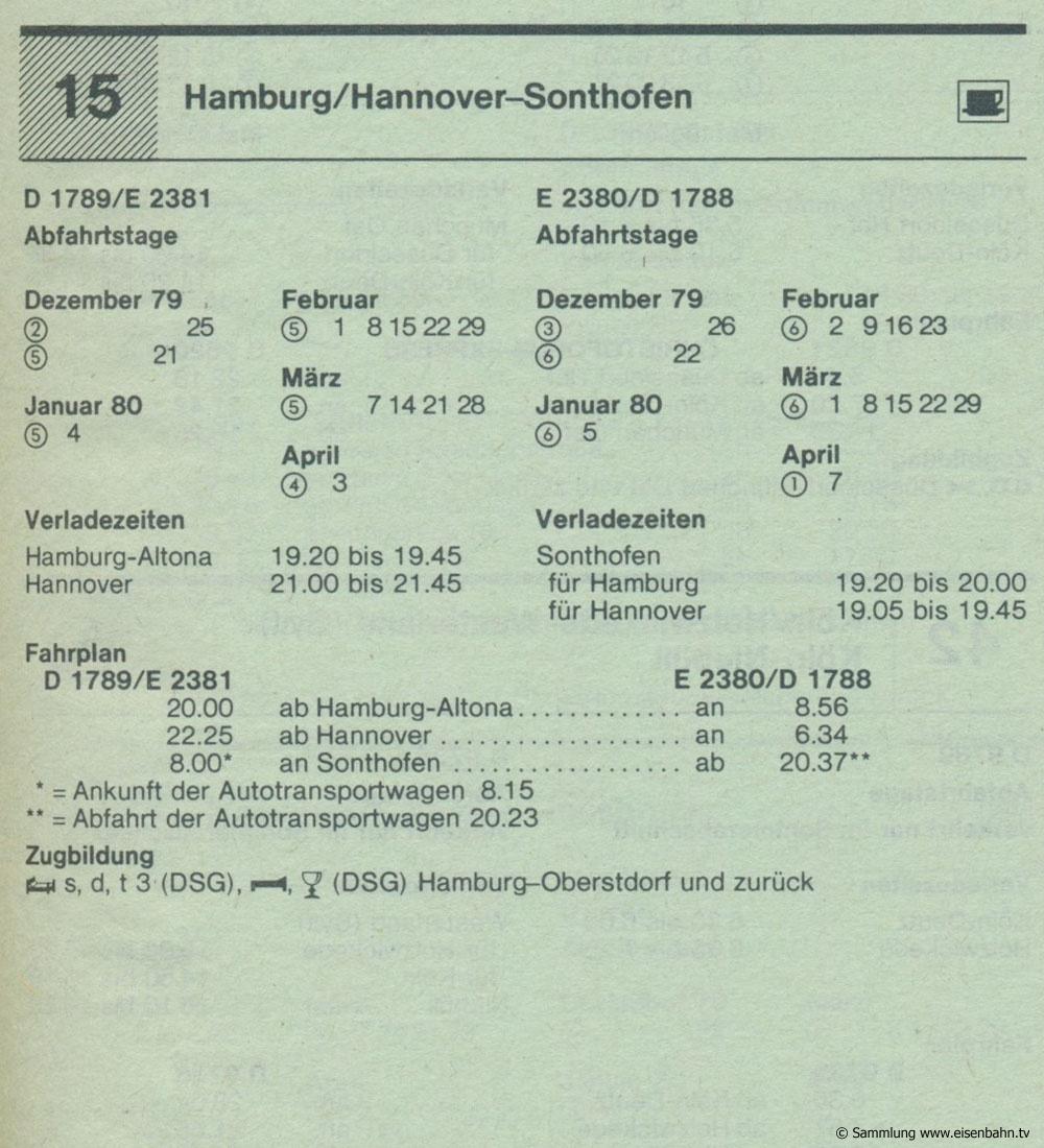D 1789 / E 2381 - D 2380 / D 1788 Hamburg / Hannover - Sonthofen Autozug Autoreisezug Fahrplan aus dem Kursbuch 1979 1980