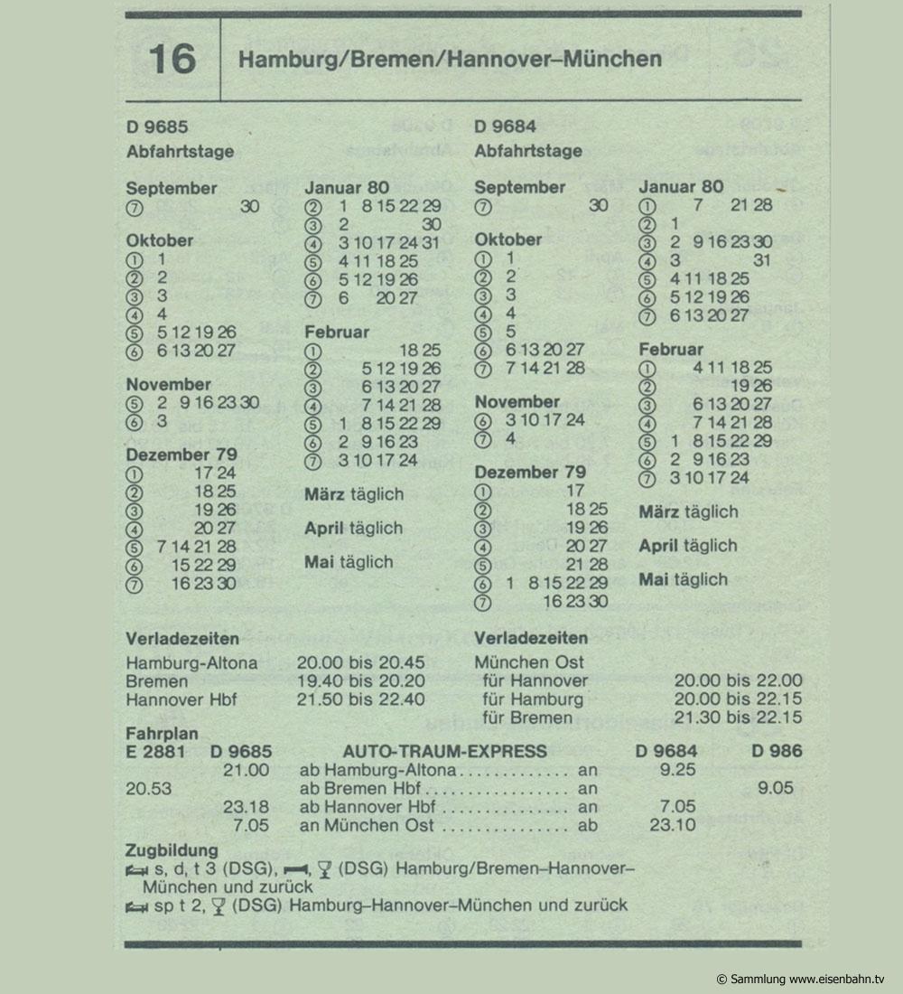AUTO-TRAUM-EXPRESS D 9685 D 9684 Hamburg / Bremen / Hannover - München Autozug Autoreisezug Fahrplan aus dem Kursbuch 1979 1980