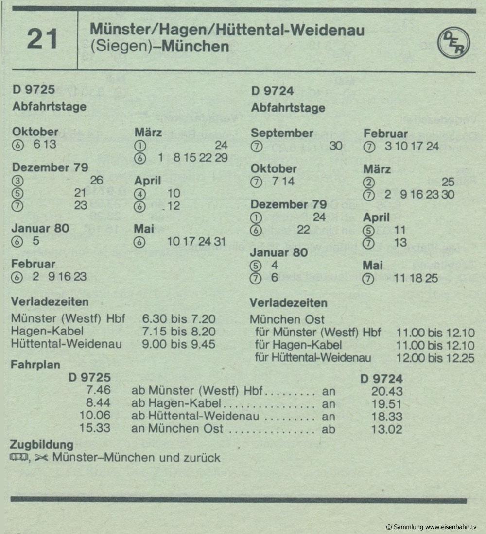 D 9725  D 97 24 Münster / Hagen / Hüttental-Weidenau ( Singen) - München Autozug Autoreisezug Fahrplan aus dem Kursbuch 1979 1980