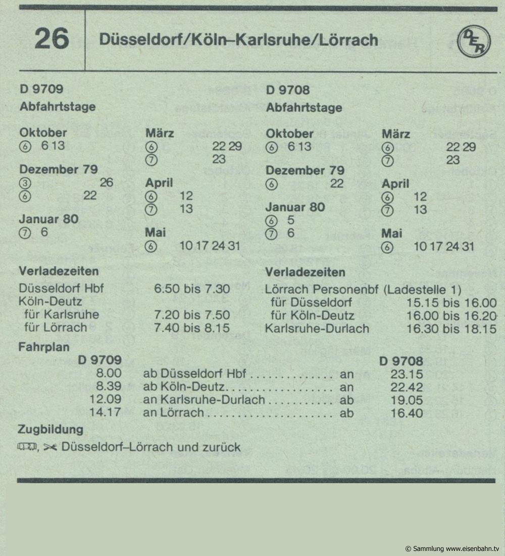 D 9709 D 9708 Düsseldorf /  Köln - Karlsruhe / Lörrach Autozug Autoreisezug Fahrplan aus dem Kursbuch 1979 1980