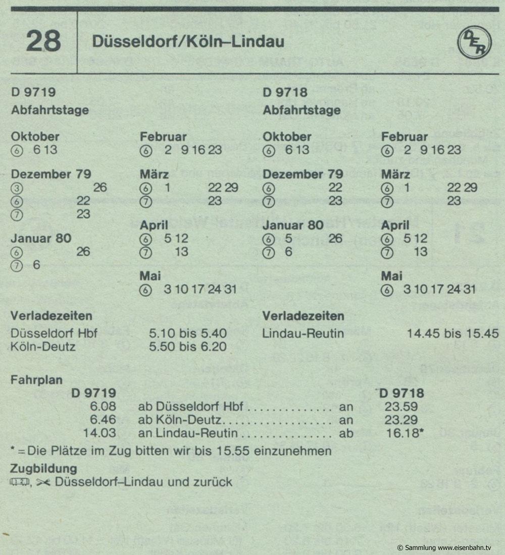 D 9719 D 9718 Düsseldorf / Köln -  Lindau  Autozug Autoreisezug Fahrplan aus dem Kursbuch 1979 1980