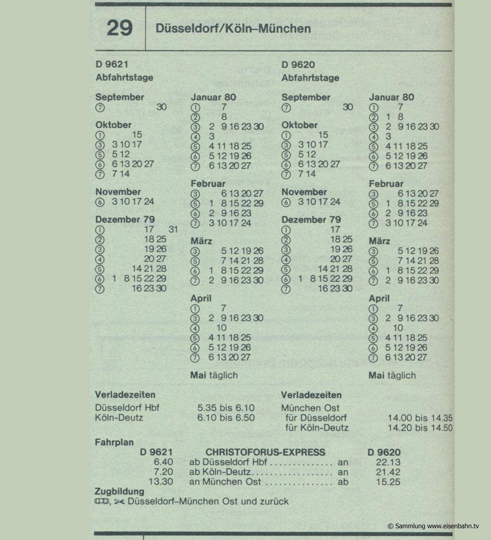 CHRISTOPHORUS-EXPRESS D 9621 D 9620 Düsseldorf /  Köln - München Autozug Autoreisezug Fahrplan aus dem Kursbuch 1979 1980