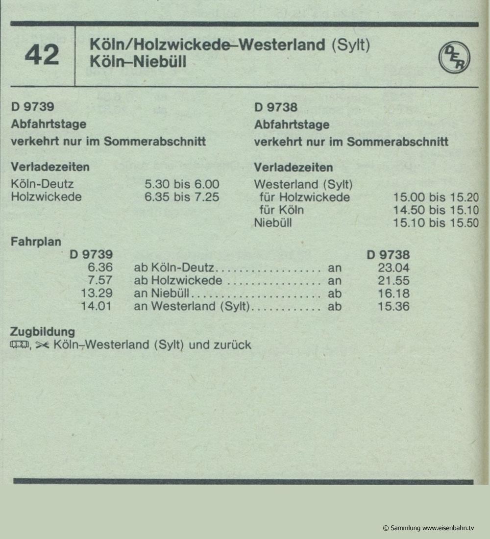 D 9739 D 9738 Köln / Holzwickede - Niebüll / Westerland Sylt Autozug Autoreisezug Fahrplan aus dem Kursbuch 1979 1980