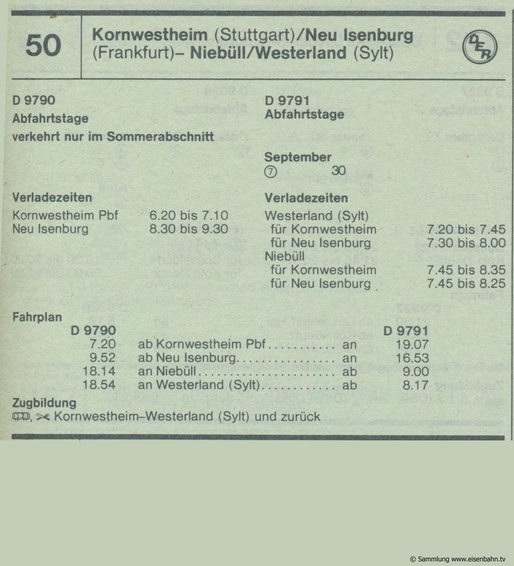 D 9790 D 9791 Kornwestheim (Stuttgart) / Neu Isenburg (Frankfurt)  - Neibüll / Westerland (Sylt) Autozug Autoreisezug Fahrplan aus dem Kursbuch 1979 1980