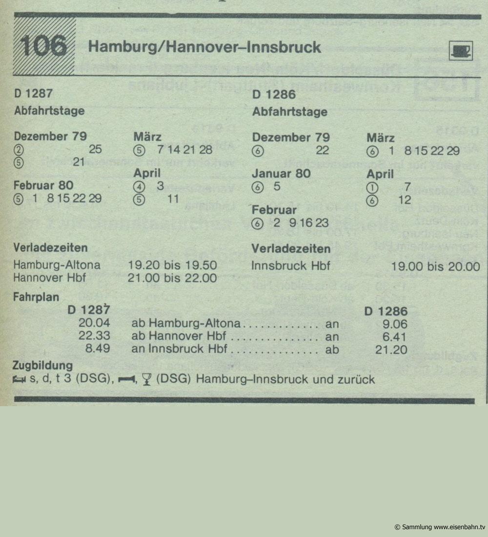 D 1287 D 1286 Hamburg / Hannover - Insbruck Autozug Autoreisezug Fahrplan aus dem Kursbuch 1979 1980