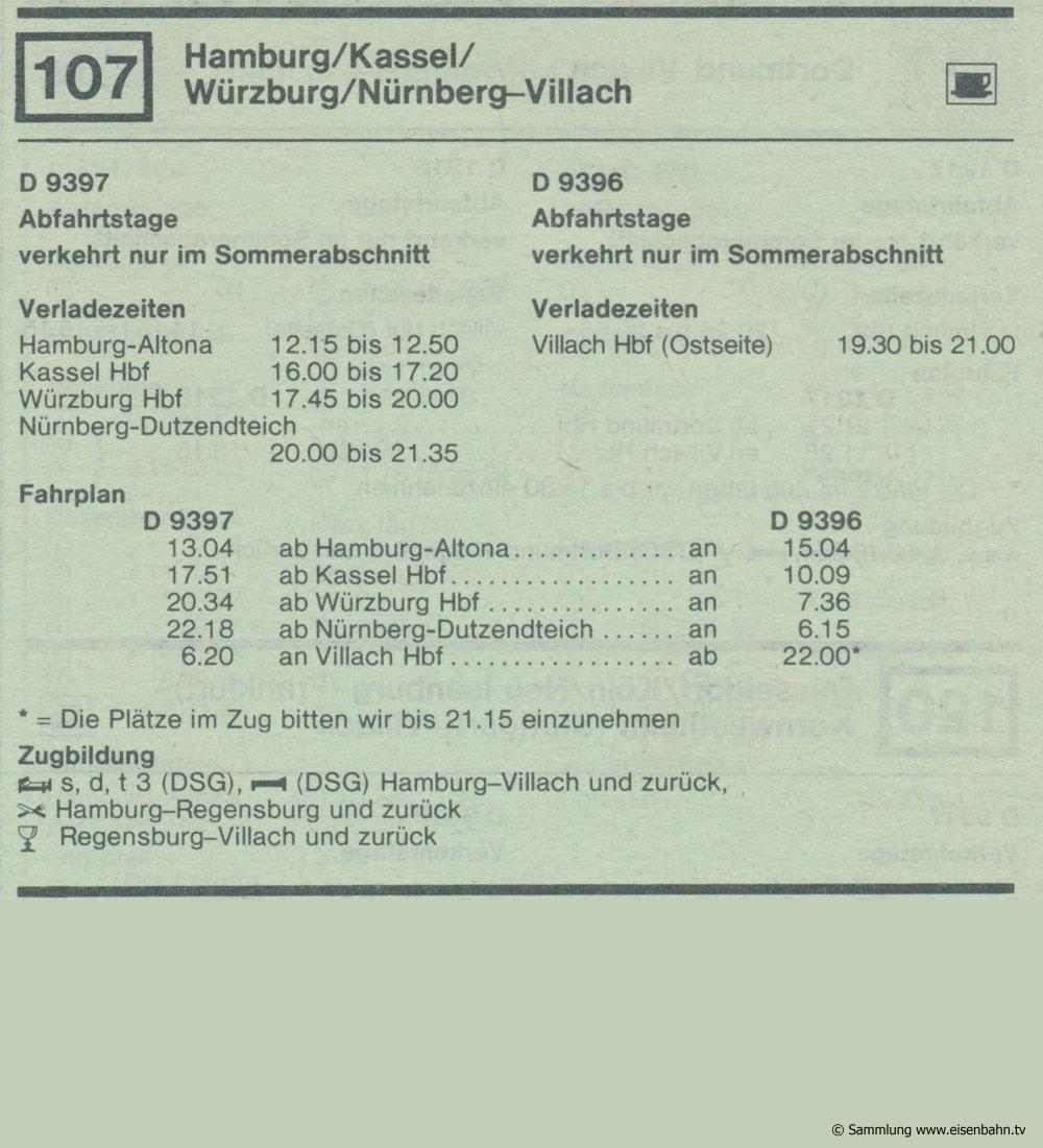 D 9397 D 9396 Hamburg / Kassel  / Würzburg / Nürnberg - Villach  Autozug Autoreisezug Fahrplan aus dem Kursbuch 1979 1980
