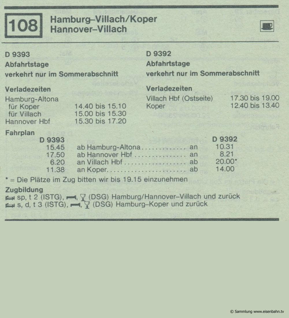 D 9393 D 9392 Hamburg - Hannover - Villach / Koper  Autozug Autoreisezug Fahrplan aus dem Kursbuch 1979 1980