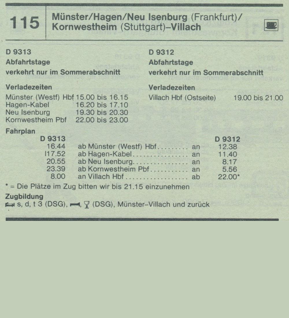D 9113 D 9312 Münster / Hagen / Neu Isenburg (Frankfurt) / Kornwestheim ( Stuttgart) - Villach Autozug Autoreisezug Fahrplan aus dem Kursbuch 1979 1980