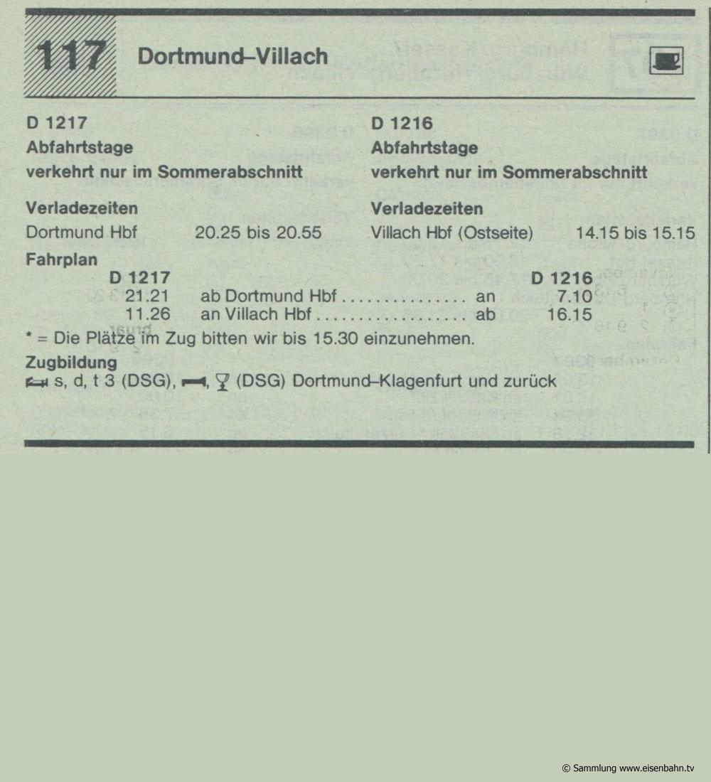 D 1217 D 1216 Dortmund - Villach Autozug Autoreisezug Fahrplan aus dem Kursbuch 1979 1980