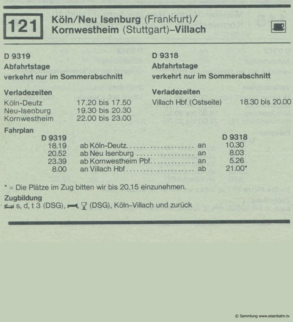 D 9219 D 9318 Köln /  Neu Isenburg ( Frankfurt) / Kornwestheim - Villach Autozug Autoreisezug Fahrplan aus dem Kursbuch 1979 1980