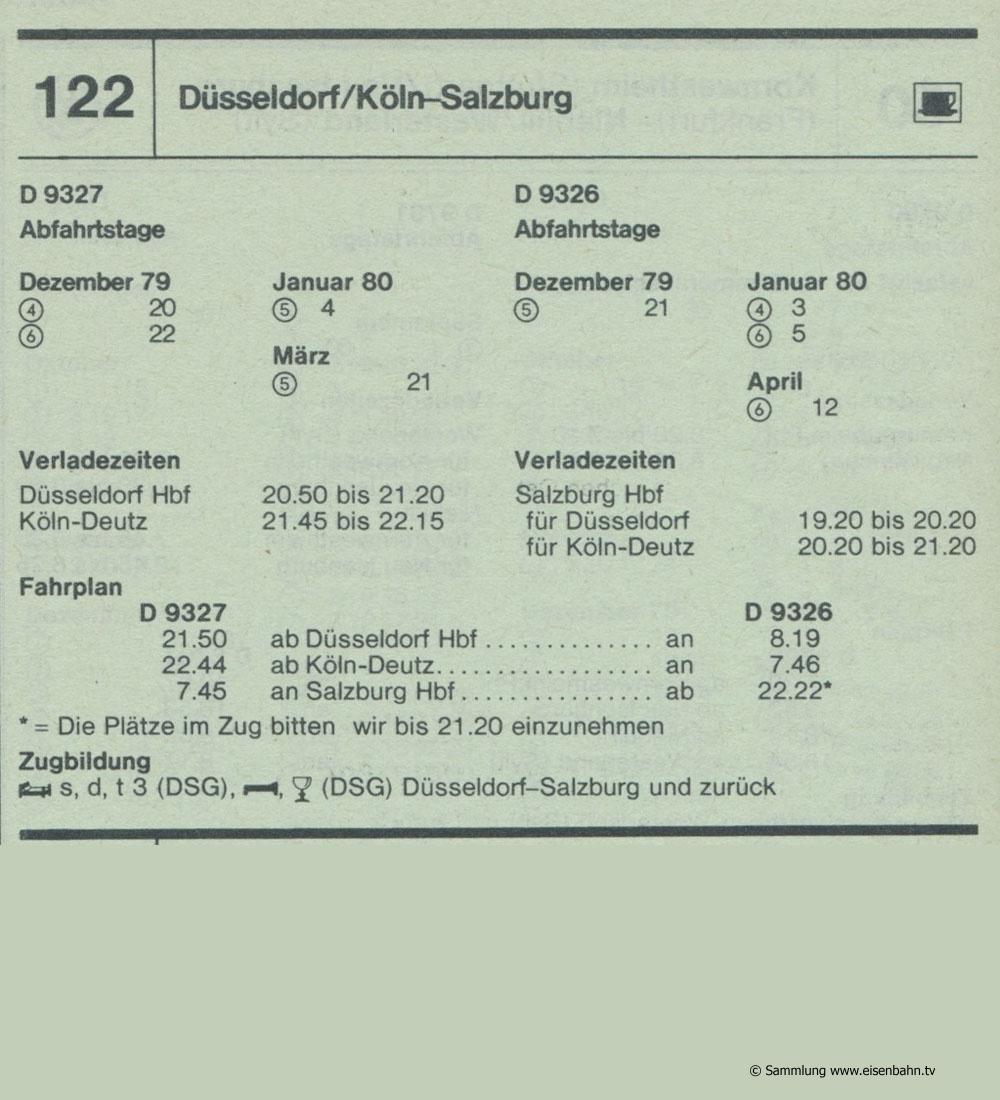 D 9327 D 9326 Düsseldorf / Köln -Salzburg Autozug Autoreisezug Fahrplan aus dem Kursbuch 1979 1980