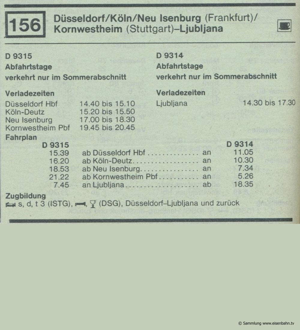 D 9315 D 9314 Düsseldorf / Köln / Neu Isenburg (Frankfurt) / Kornwestheim (Stuttgart) - Ljubliana Autozug Autoreisezug Fahrplan aus dem Kursbuch 1979 1980