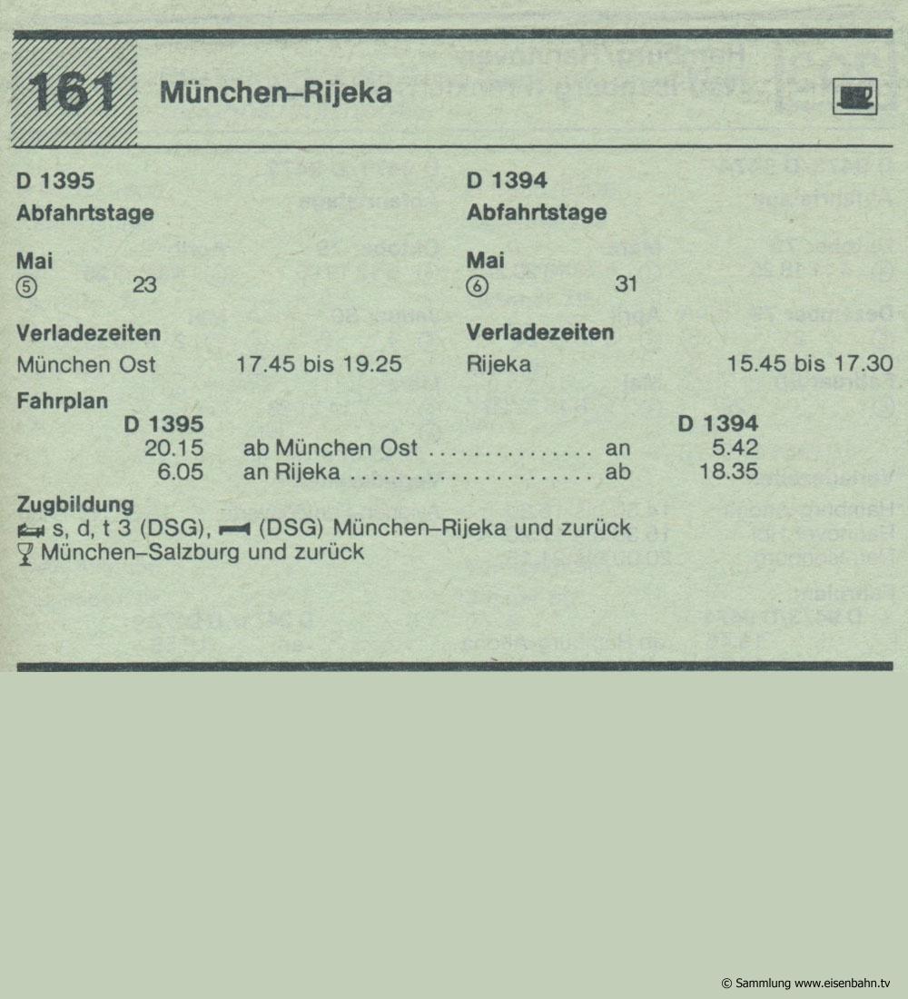 D 1395 D 1394  München - Rijeka Autozug Autoreisezug Fahrplan aus dem Kursbuch 1979 1980