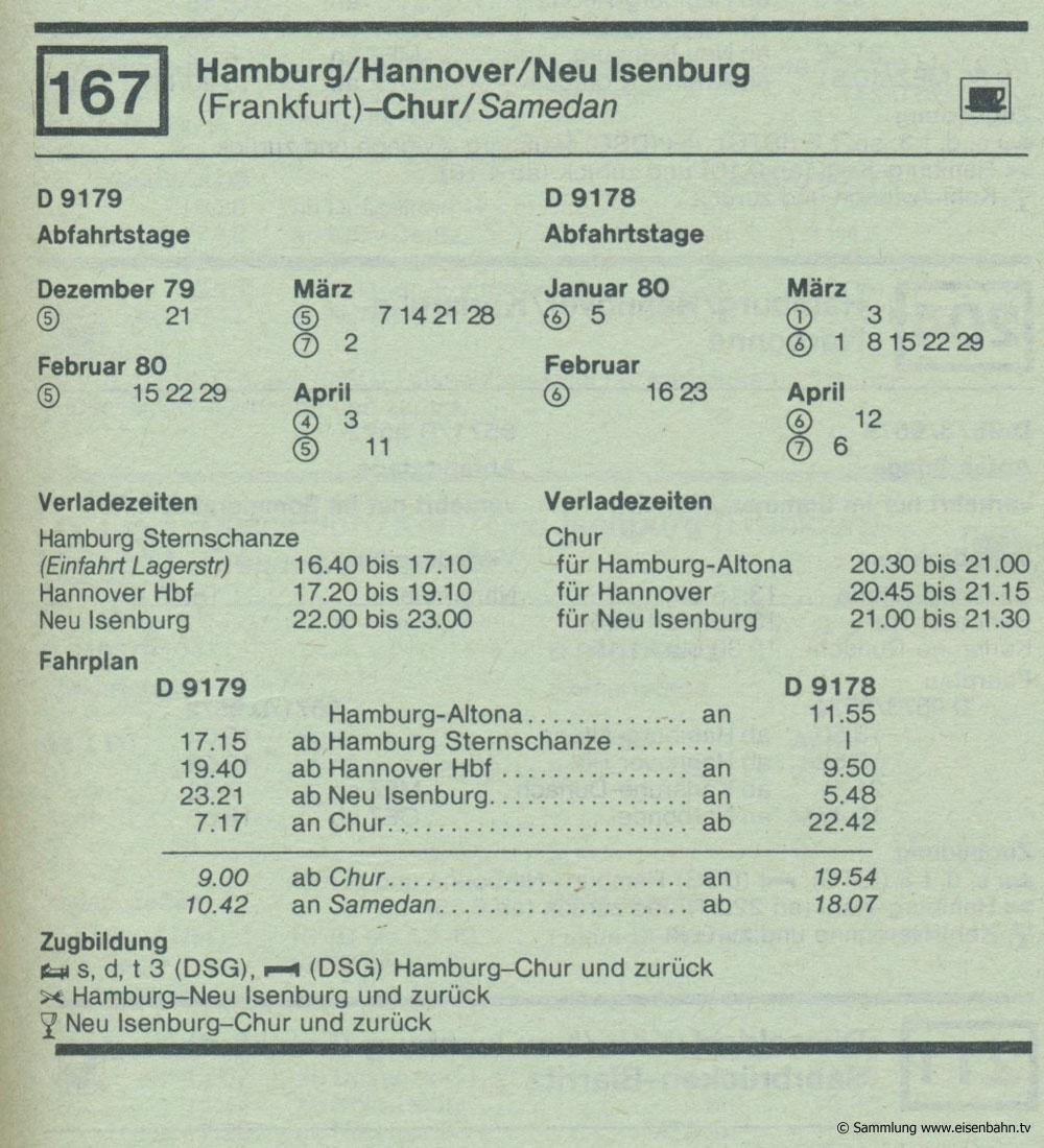D 9179 D 9178 Hamburg / Hannover / Neu Isenburg (Frankfurt) - Chur / Samedan   Autozug Autoreisezug Fahrplan aus dem Kursbuch 1979 1980
