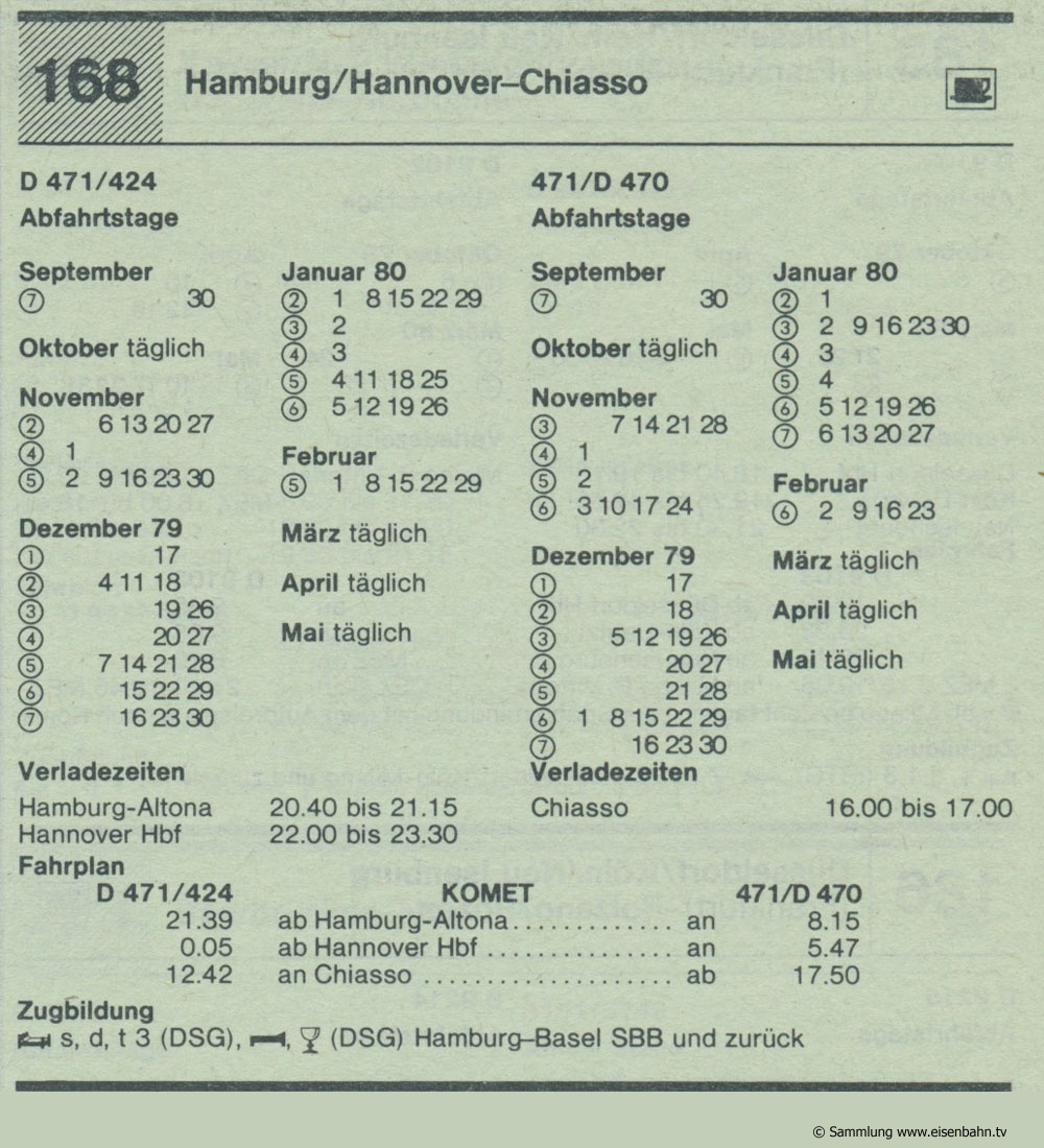KOMET D 471 - D 424 - D 471 - D 470 Hamburg / Hannover - Chiasso Autozug Autoreisezug Fahrplan aus dem Kursbuch 1979 1980