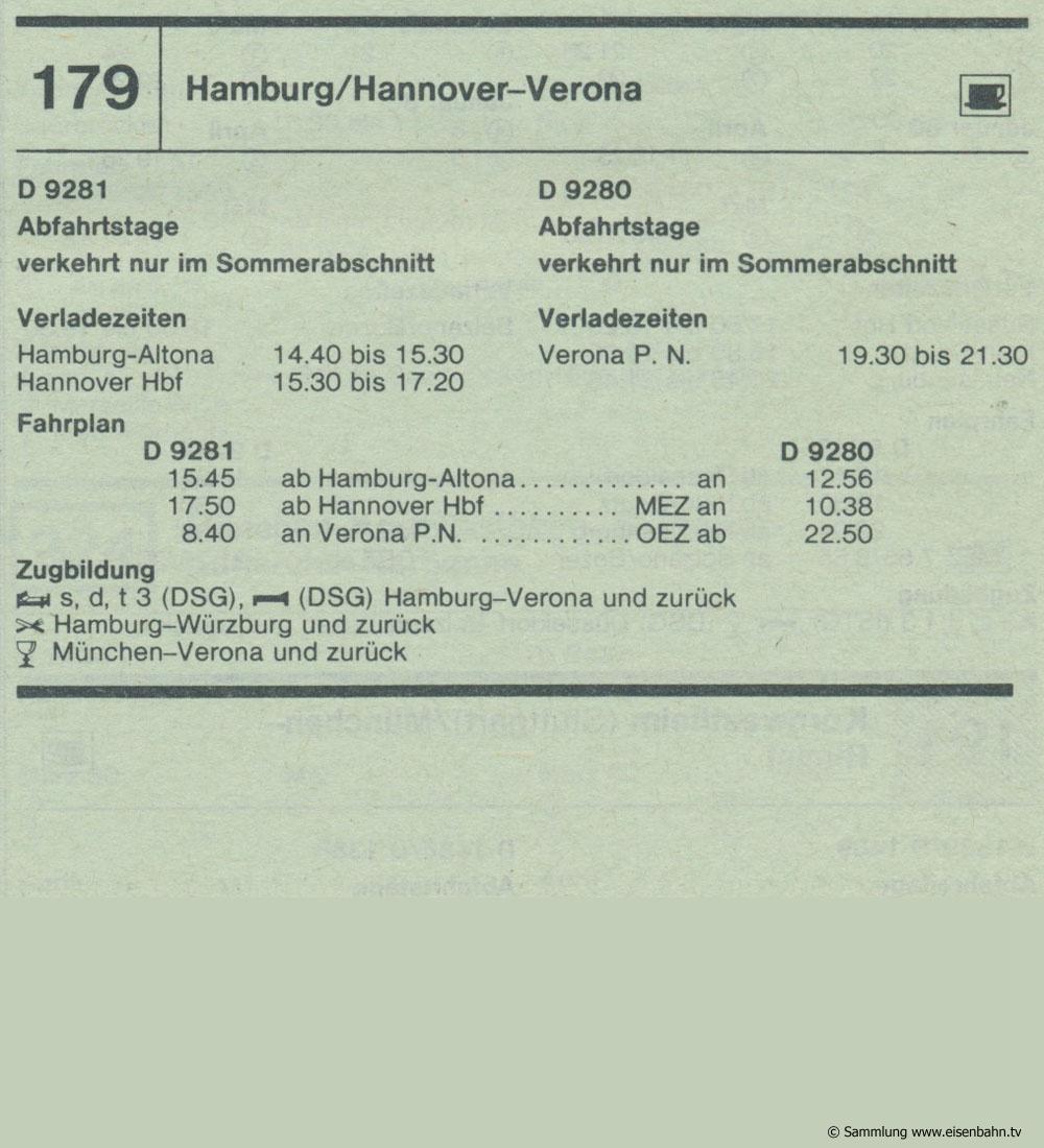 D 9281 D 9280 Hamburg / Hannover - Verona Autozug Autoreisezug Fahrplan aus dem Kursbuch 1979 1980