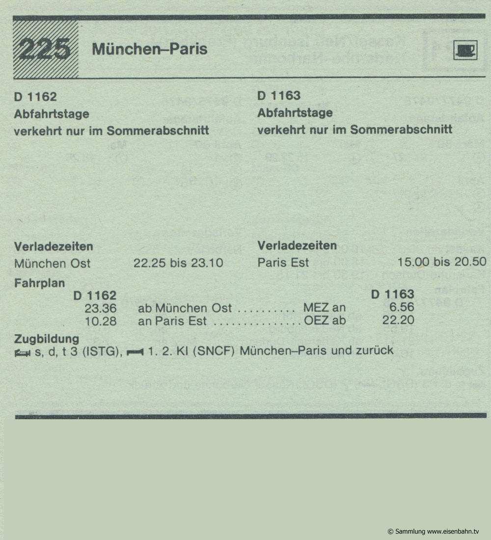 D 1162 D 1163 München - Paris Autozug Autoreisezug Fahrplan aus dem Kursbuch 1979 1980