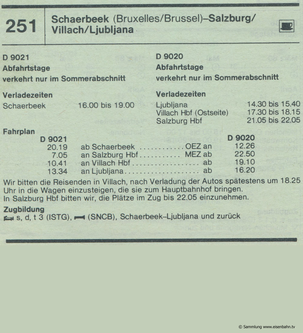 D 9021 D 9020 Schaerbeek (Bruxelles Brüssel) - Salzburg - Villach - Ljubljana Autozug Autoreisezug Fahrplan aus dem Kursbuch 1979 1980