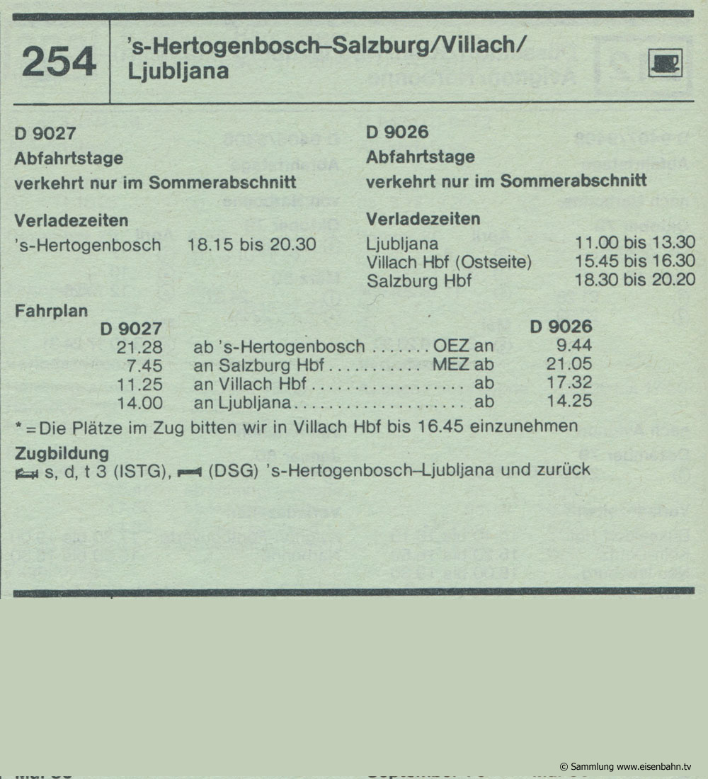 D 9027 D 9026 's-Hertogenbosch - Salzburg / Villach / Ljubljana Autozug Autoreisezug Fahrplan aus dem Kursbuch 1979 1980