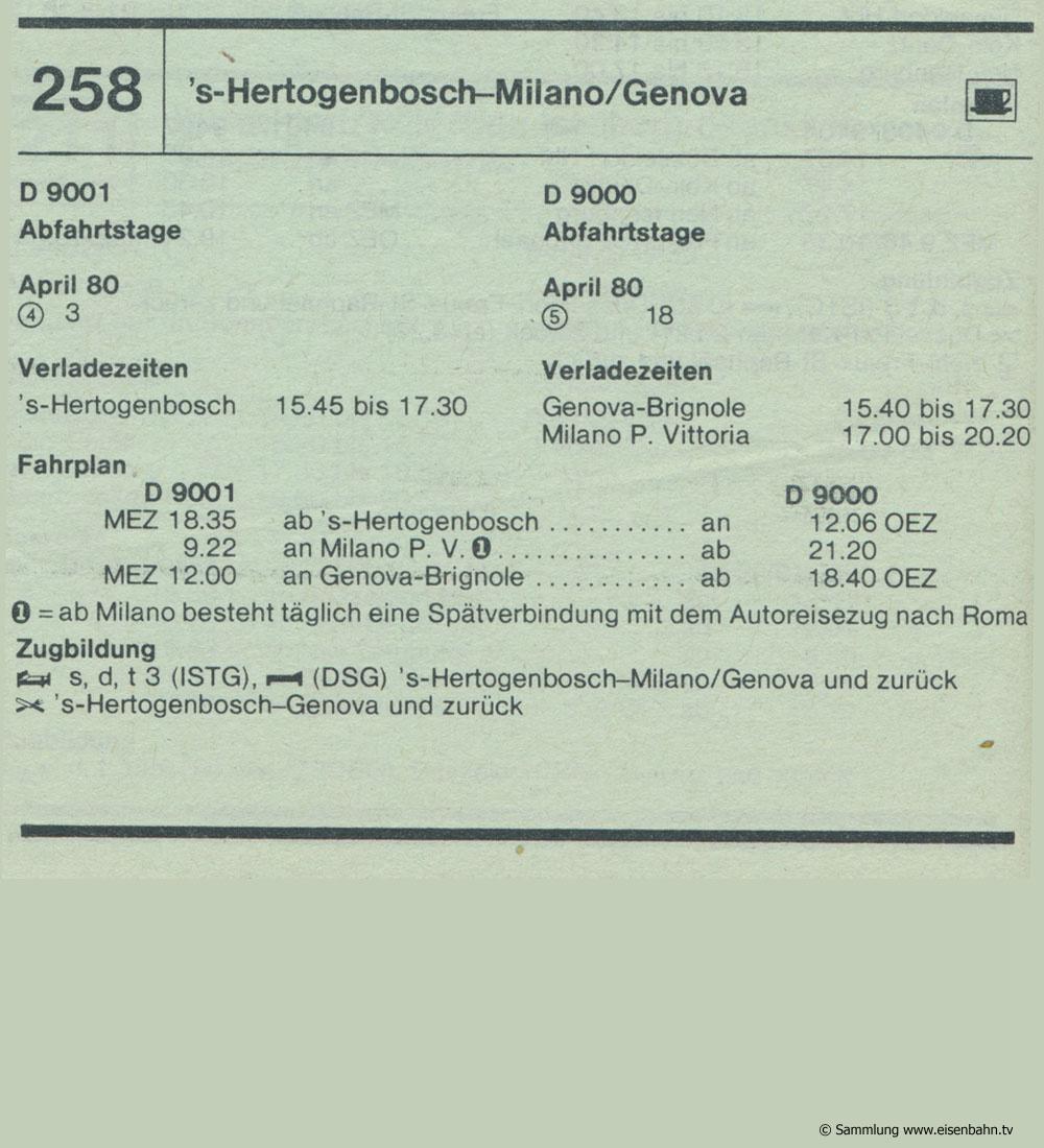 D9001 D 9000 's-Hertogenbosch - Milano / Genova  Autozug Autoreisezug Fahrplan aus dem Kursbuch 1979 1980