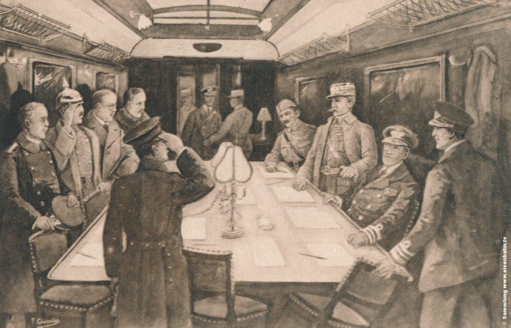 Waffenstillstand 1819 erster Weltkrieg in Compiègne Zeichnung Blick in den Wagon