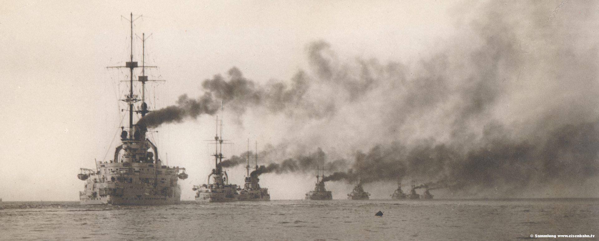 2. Geschwader Deutsche Flotte in der Nordsee Kriegschiff Schlachtschiff Kreuzer