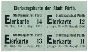 Eierbezugsmarke Eiermarke Stadt Fürth Lebensmittelmarke 1916